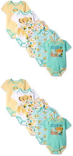 Disney Baby Boys' Simba 5 Pack Bodysuits, Multi/Yellow, 12-18 Months