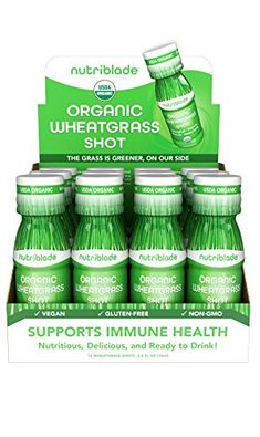 NutriBlade Organic Wheatgrass Shot  Certified Organic by USDA Great Taste Convenient Superfood Nutrition  1 in Ready to Drink Wheatgrass 12 pack *** Read more reviews of the product by visiting the link on the image.