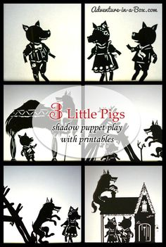 How to make a shadow theatre - 3 Little pigs puppet theatre with printables