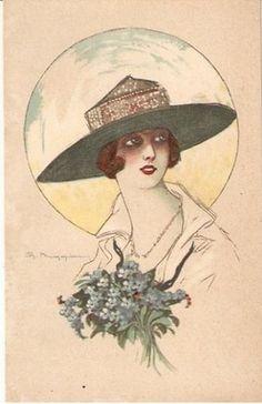 Maggiani Art Deco Postcard 1920s Woman Hat Flower N 096   eBay