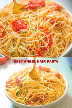 This angel hair pasta is made with cherry tomatoes garlic and olive oil you wont believe how simple and tasty this recipe is! cooktoria for more deliciousness! Vegetarian Recipes, Cooking Recipes, Healthy Recipes, Vegan Vegetarian, Vegetarian Italian, Vegan Noodles Recipes, Rice Noodle Recipes, Rice Noodle Soups, Asian Noodle Recipes