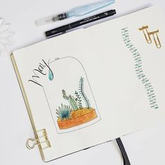 Bullet journal monthly cover page, May cover page, terrarium drawing, plant doodles, bullet journal monthly log, bullet journal monthly calendar. | @solliev.m