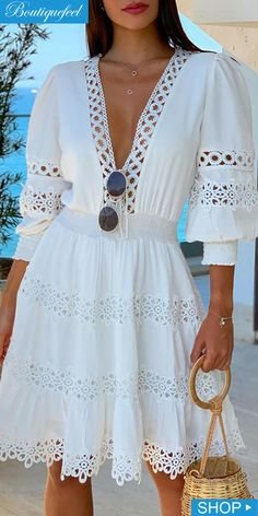 White Deep V Neck Lace Trim Mini Dress - Pothead Clothing - Women's Clothing Store in Cape Town offers online shopping for women, from dresses to bikinis, rompers, lingerie and more. Trend Fashion, Look Fashion, Fall Dresses, Summer Dresses, Midi Dresses, Mode Statements, Lace Dress, White Dress, Bohemian Pants