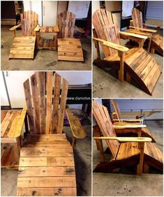 Have a look at the glamorous look of this pallet Adirondack chair with Footstool. These reused wooden pallets furniture items are best to place in your garden as well as in your pool area to enhance the beauty of your outdoor as well as to have a comfortable seating furniture at your place.