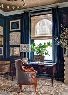 Home Office Window Treatments House 46 Ideas Home Office, Office Decor, Office Walls, Blue Rooms, Blue Walls, Color Walls, Bright Walls, Wall Colors, Colours