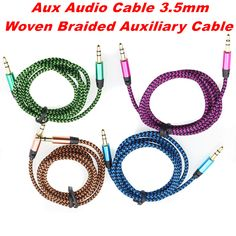 1M Colorful Woven Fabric Braided Auxiliary Aux Audio Cable 3.5mm Jack Male to Male Cord for iphone4S 5C for Samsung