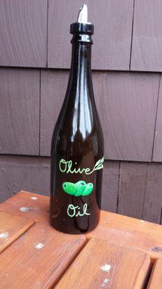 Hand Painted Olive Oil Dispenser