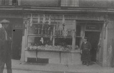 Walton's Butchers Shop Shield Street Shieldfield by Newcastle Libraries-  chickens and fish just hanging out in open air!  Ewww...