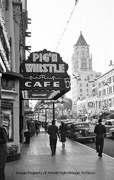 It's rare these days that I come across a vintage photo of LA in which we can see three things that are still with us. This photo of Hollywood Blvd is dated December 1948, and we can see the Pig'N Whistle Café (delicious pizza, btw), the Hollywood First National Bank building on the Highland Ave corner, and on the far left we can see the 'Now Playing' board for the Egyptian Theater.