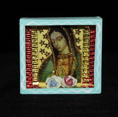 Refrigerator Retablo Reliquary Lady of Guadalupe Small Hand Made Mexico Folk Art