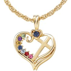 Personalized Mom Birthstone Cross within Heart Pendant Necklace ($100) ❤ liked on Polyvore featuring jewelry, necklaces, heart cross necklace, heart necklace, initial necklace, long necklace pendant and heart pendant necklace