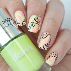 Bright Neon Leopard Nails