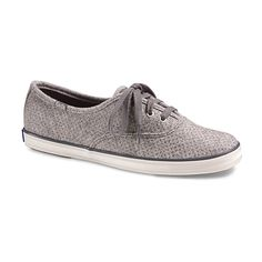 Keds Glitter Gray Champion Wool Sneaker ($25) ❤ liked on Polyvore featuring shoes, sneakers, rubber sole shoes, eyelets shoes, wool shoes, laced shoes and grey shoes