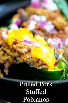 Pulled Pork Stuffed Poblano Peppers Recipe - Pulled Pork Stuffed Poblano Peppers make a hearty, spicy and delicious dish. Get this simple pulled pork stuffed peppers recipe for your next get together. Pork Dishes, Tasty Dishes, Appetizer Recipes, Dinner Recipes, Appetizers, Slow Cooker, Stuffed Poblano Peppers, Stuffed Poblanos, Cooking Recipes