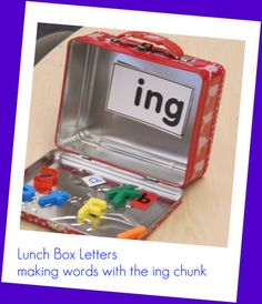Lunch box letters: Put everything needed to make words with a base chunk in a lunchbox. Include a record sheet and this makes a great center activity. A free record sheet is available from Joyful Learning blog. Thanks!