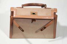 Hermes Paris 70s Vintage Tan Canvas Leather Kelly Bag Tote Handbag Purse | eBay