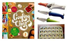 1 winner wins a copy of Cooking Class cookbook, stainless muffin pan + baking cups, dog knife and snippet set, box grater and glass measuring cup ($100 value)!