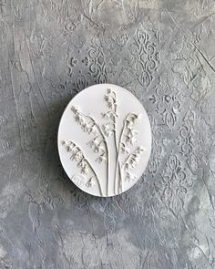 """Scandinavian botanical bas-relief """"Lilies of the valley"""" shelf decor by DinaArtDecor. Oval rustic planter wall decor made from fresh flowers. Wall art tile. Lilies of the valley oval botanical panel is ideal for decorating the entrance hall, living room, kitchen, bedroom or baby room"""