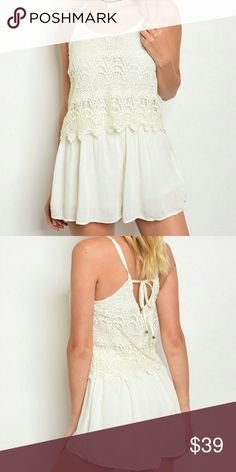 JUST IN! 🆕 Ivory crocheted romper NWT Crochet flounce later, adjustable spaghetti straps, tieback, line chiffon shorts. Another spring must have! 💐💐 Threadzwear Pants Jumpsuits & Rompers