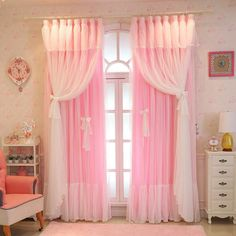 Baby Curtains, White Lace Curtains, Girls Room Curtains, Tulle Curtains, Cheap Curtains, Bedroom Curtains, Curtain Styles, Curtain Designs, Pink Bedrooms