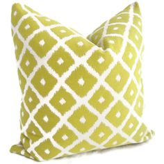 Lime Green and white Ikat Pillow Cover by PopOColor on Etsy, $45.00