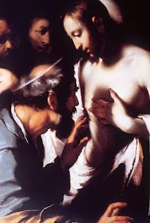 Painting of the Risen Jesus of Nazareth appearing to Doubting Thomas, by Italian painter Caravaggio
