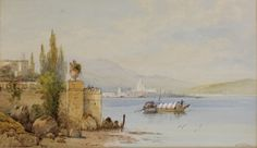 """Lot 405, E St John, watercolours, a pair, southern European lakeside scenes with boats and buildings, signed, 11"""" x 18 1/2"""", Est £300-500"""