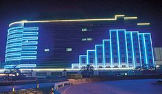 LED neon flex decorated in the building facade