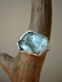 Big Rough Aquamarine Ring Sterling Silver  Custom by metalmorphoz, $185.00 - Aquamarine the March birthstone.