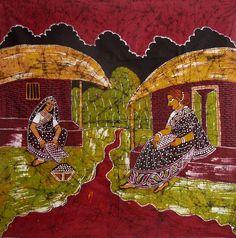 Village Women (Batik Painting on Cotton Cloth - Unframed)