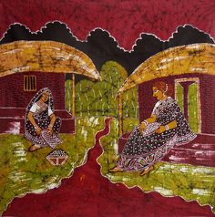 Village Women (Batik Painting on Cotton Cloth - Unframed)