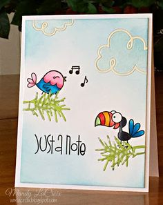 Just A Note card by Mandy LaCroix - Paper Smooches - My Peeps, Sentiment Sampler