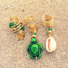 Loc Jewelry 3pc Gold Wire Green turtle by AsiliaDesigns on Etsy, $12.50