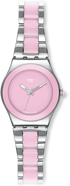 Swatch Swiss Pink And Silver Bracelet Ladies Watch - YLS167G