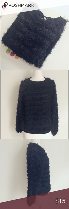 """Darling London Black Angel knit Top It is between a top and a sweater. Relatively thin and light. Pure black with fuzzy finish. Knit: 100% Poly. Rib: 100% cotton. Mildly used.     Size S. ️Chest 20 1/2"""", length 23"""". ✅offer welcome 🚫no trade Darling  Tops"""