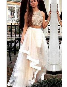 Vintage Lace Two Pieces Prom Dresses, Champagne Tulle