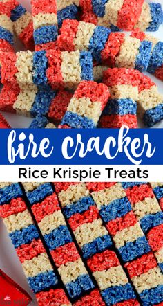 Our colorful and patriotic Firecracker Krispie Treats are adorable, delicious and make the perfect 4th of July dessert. Easy to make, these super cute 4th of July Treats will definitely stand out on a Fourth of July Dessert Table. Pin this delicious 4th of July snack for later and follow us for more great 4th of July Food Ideas. #4thofJuly #fourthofjuly #4thofJulyTreats #RiceKrispieTreats #4thofJulyDesserts #4thofJulyFood