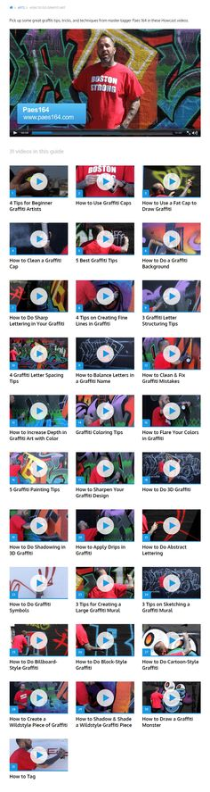 How to Do Graffiti Art -- Pick up some great graffiti tips, tricks, and techniques from master tagger Paes 164 in these 31 Howcast videos. | http://howcast.com/guides/1091-how-to-do-graffiti-art