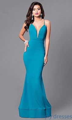 Shop long mermaid prom dresses at Simply Dresses. Floor-length spandex formal gowns under $150 with plunging low v-necklines and open backs.