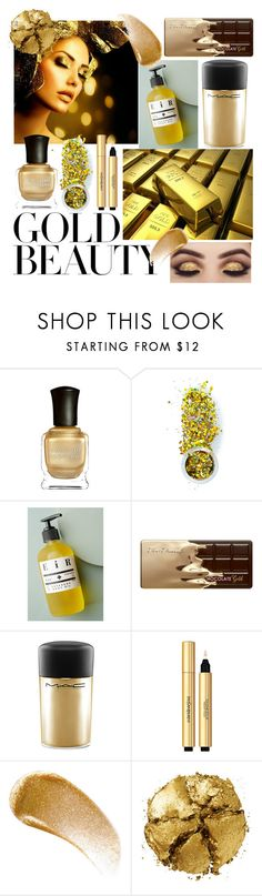 """""""Gold beauty"""" by margosedih ❤ liked on Polyvore featuring beauty, Deborah Lippmann, The Gypsy Shrine, EiR NYC, Too Faced Cosmetics, MAC Cosmetics, Yves Saint Laurent, BBrowBar and Pat McGrath"""