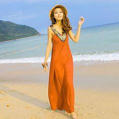 Women's Fashion New Goddess V-Neck Simple Beach Dress - USD $ 17.54