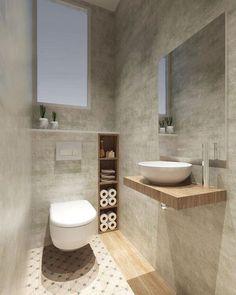 Space Saving Toilet Design For Small Bathroom Secrets 66 – homedecorsdesign Small Toilet Design, Small Toilet Room, Guest Toilet, Bathroom Design Small, Bathroom Interior Design, Modern Toilet Design, Interior Livingroom, Bad Inspiration, Bathroom Inspiration