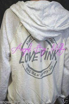 New Victoria's Secret Pink s White Two Tone Perfect Zip Baggy Hoodie sweat Shirt | eBay