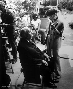 Alfred Hitchcock and Edith Head on the set, 1960s