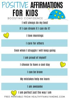 Positive affirmations for kids boost confidence and grow self-love. As parents we need to help our kids grow and believe in themselves. Grab you free affirmations for kids printable and help them thrive. Gentle Parenting, Parenting Advice, Kids And Parenting, Natural Parenting, Peaceful Parenting, Positive Affirmations For Kids, Positive Discipline, Positive Quotes, Toddler Discipline