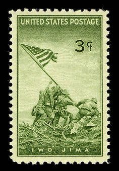 Issued July 11, 1945, this stamp honors the US Marine Corps. It depicts the raising of the flag over Mt. Suribachi on the island of Iwo Jima. The image is based on a historic photo taken by Joe Rosenthal on February 23, 1945. Did you know that fighting continued for another four weeks after the photo was taken?