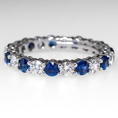 Tiffany & Co Shared Setting Band Ring Diamond & Sapphire Eternity Platinum