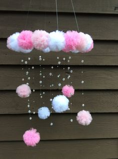 Pink Crystal Mobile Baby Mobile Pom Pom by Jennab Pom Pom Crafts, Yarn Crafts, Diy And Crafts, Crafts For Kids, Paper Crafts, Tulle Crafts, Preschool Crafts, Baby Mädchen Mobile, Pink Mobile