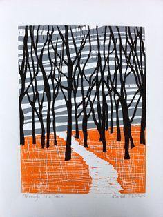 Through the Trees Linocut print Rachel Willock (interesting three-color print - three different blocks printed onto one sheet. Art And Illustration, Gravure Illustration, Linocut Prints, Art Prints, Block Prints, Linoprint, Wood Engraving, Art Plastique, Woodblock Print