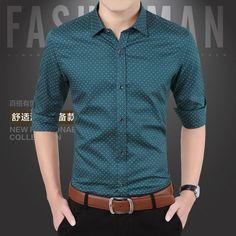 2016 New Spring Men Shirts Casual Slim Fit Long Sleeve Shirt For Male designer Print Camisa Brand Dress Shirt Big Size M~5XL CA3